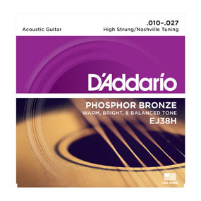 D'Addario EJ38H Phosphor Bronze, High Strung/Nashville Tuning, 10-27 Acoustic Guitar Strings