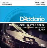 D'Addario EJ60 Nickel 5-String Light 9-20 Banjo Strings