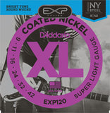 D'Addario EXP120 Coated Nickel Wound, Super Light, 9 to 42 Electric Guitar Strings