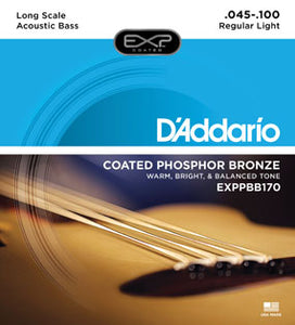 D'Addario EXPPBB170 Coated Phosphor Bronze Long Scale, 45-100 Acoustic Bass Guitar Strings