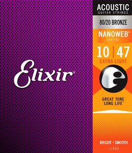Elixir 11002 80/20 Bronze Nanoweb Coating 10-47 Acoustic Guitar Strings