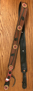 Custom Made Leather Guitar Strap with Flowers Design