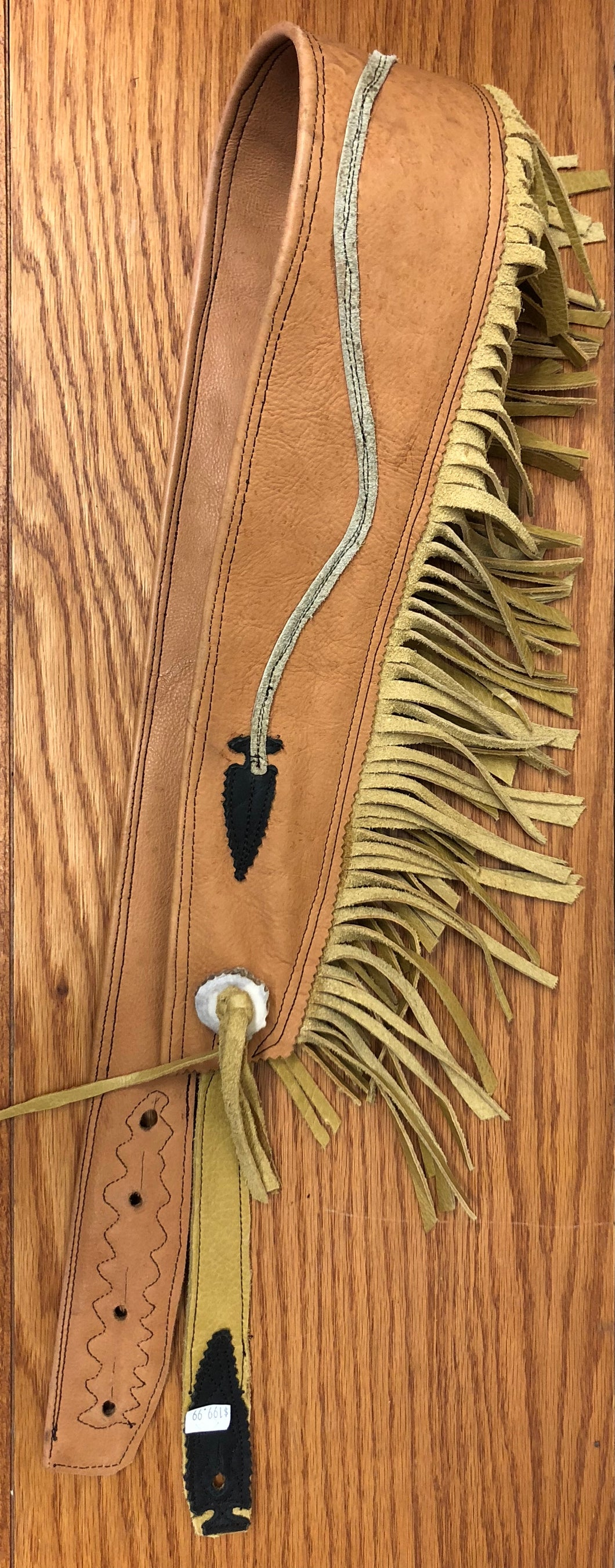 Custom Made Leather Guitar Strap with Arrow Design and Suede Fringe