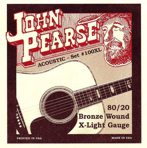 John Pearse Set #100XL Bronze Wound Extra Light Standard Acoustic Guitar Strings