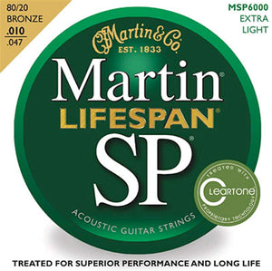 Martin MSP6000 SP Lifespan 10-47 Extra Light Acoustic Guitar Strings