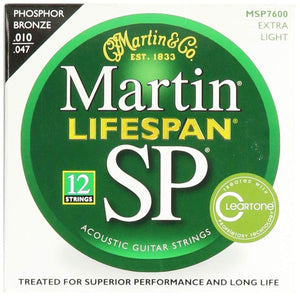 Martin MSP7600 SP Lifespan 12-String Extra Light 10-47 Acoustic Guitar Strings