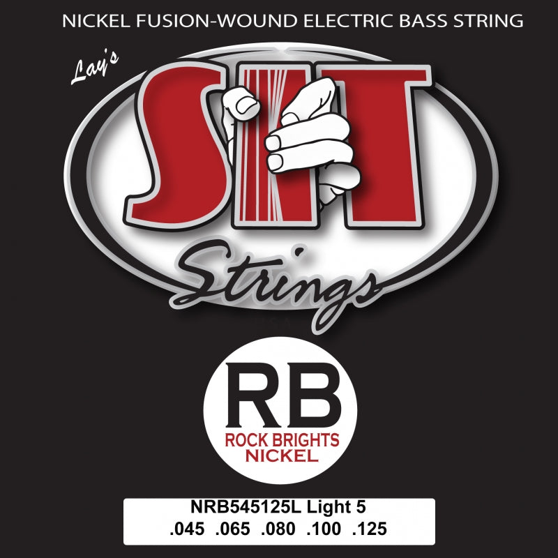 S.I.T. NRB545125L 5-String Light Rock Bright Nickel 45-125 Electric Bass Guitar Strings