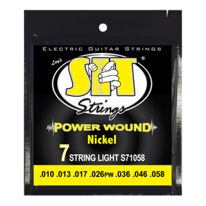S.I.T. S71058 7-String lIGHTR Power Wound Nickel 10-58 Electric Guitar Strings