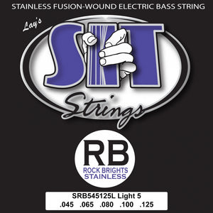 S.I.T. SRB545125L 5-String Light Rock Bright Stainless 45-125 Electric Bass Guitar Strings