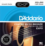 D'Addario EXP11 Coated 80/20 Bronze Light 12/53 Acoustic Guitar Strings