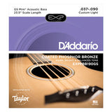 D'Addario EXPPBB190GS Coated Phosphor Bronze Taylor GS Mini Scale, 37-90 Acoustic Bass Guitar Strings
