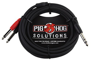 "Pig Hog  3ft TRS-Dual 1/4"" Insert Cable"