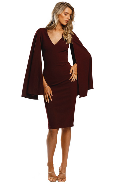 Brazen Sleeve Midi Wine by Pasduchas