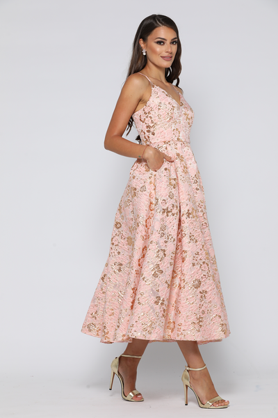 Coco Dress Dusty Pink / Gold by YSS The Label
