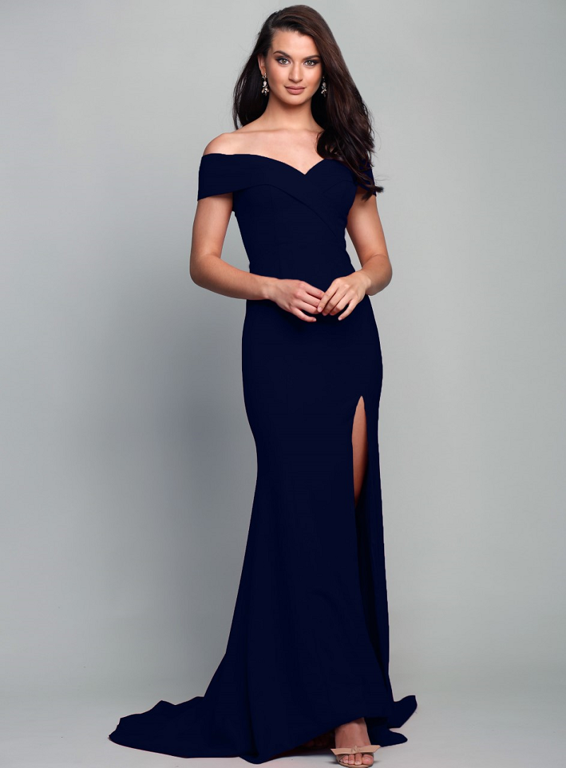 0353052273d Gia Off the Shoulder Gown Astral Navy by Samantha Rose — Windsor   Lux