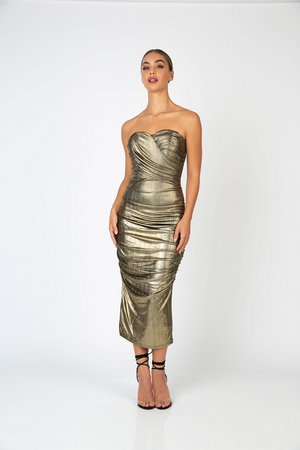 Moonshine Midi Dress Gold by Romance the Label
