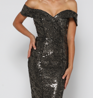 Paris Sequin Dress Black / Gold by YSS The Label
