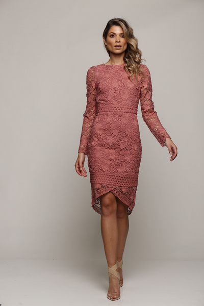 Passion Long Sleeve Midi Rose Pink by Romance the Label