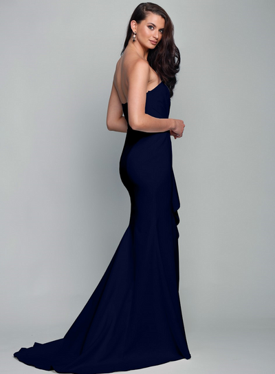 Stellina Gown with Train Navy by Samantha Rose