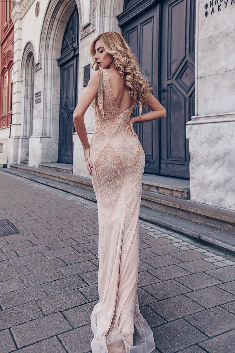 Sierra Gown Pale Apricot by Tina Holy