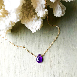 14k Gold Filled Purple Amethyst Clavical Necklace