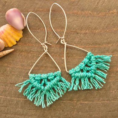 Argentium Hemp Macrame Triangle Earrings