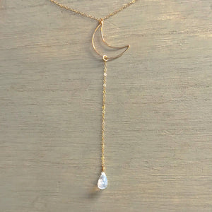 14k Gold Filled Moonstone Crescent Clavical Lariat Necklace