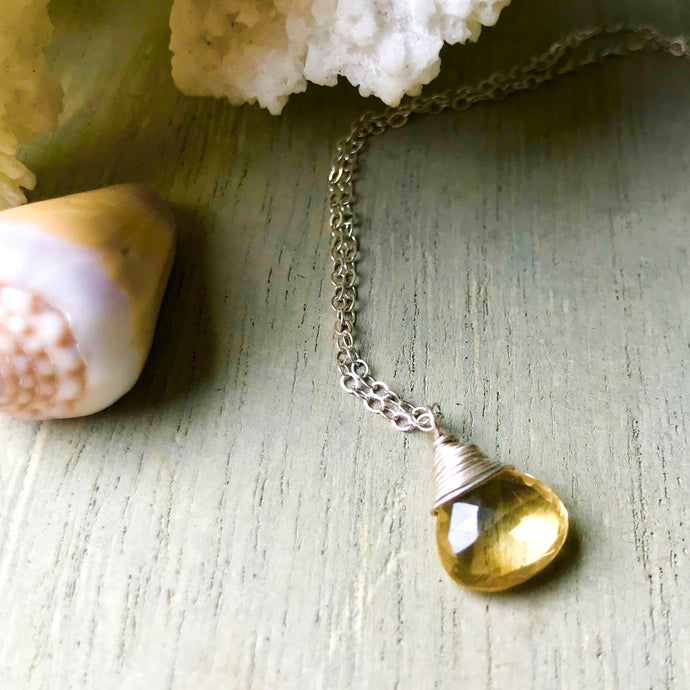 Simple Sterling Silver Golden Citrine Briolette Drop Necklace