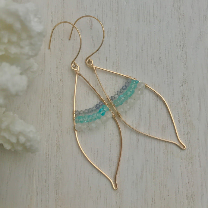 Gold Inlay Leaf Earrings