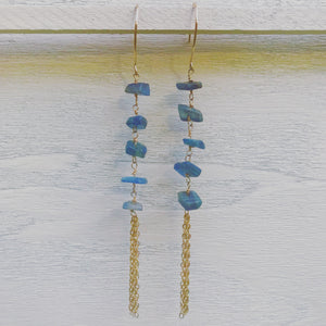 Raw Kyanite Gold Tassel Earrings