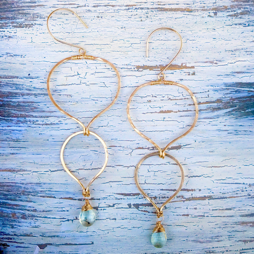 Gold Hammered Green Amethyst Teardrop Earrings