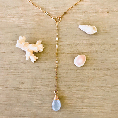 14k Gold Filled Sequin & Periwinkle Chalcedony Lariat Necklace