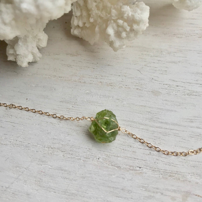 14k Gold Filled Peridot Clavical Necklace