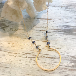 14k Gold Filled Long Eclipse & Iolite Necklace