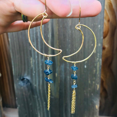 Gold Crescent Tassel Earrings
