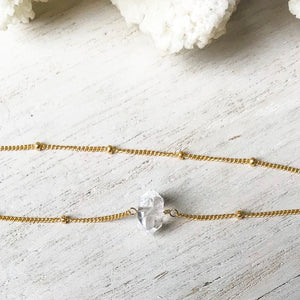 Gold Herkimer Diamond and Satellite Choker Necklace