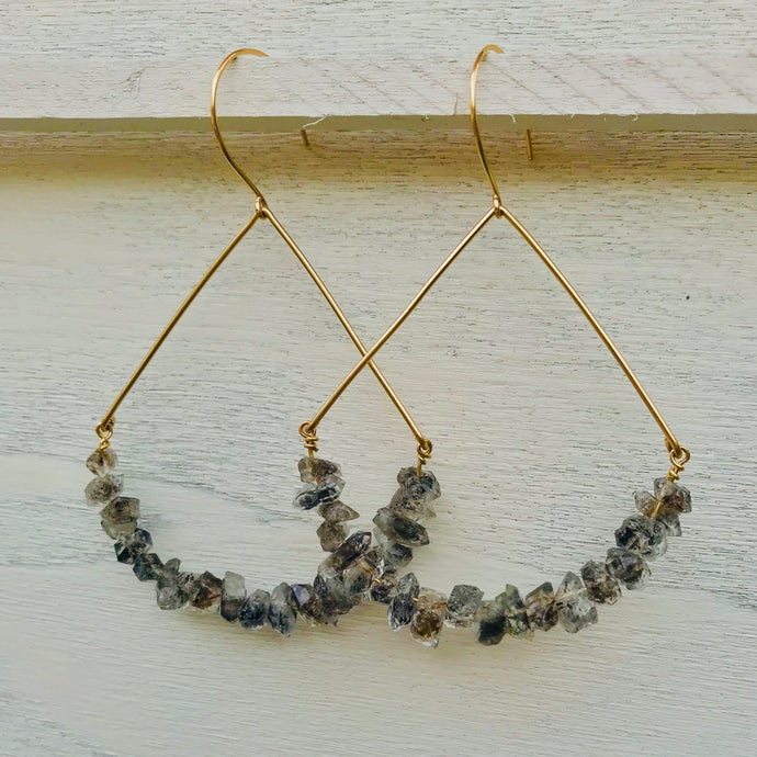 Gold Raw Reticulated Herkimer Diamond Boat Hoop Earrings
