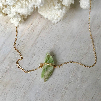 14k Gold Filled Raw Green Kyanite Spike Necklace