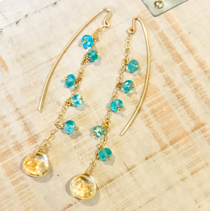 Gold, Citrine & Apatite Dew Drop Cascade Earrings