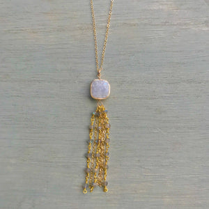 14k Gold Filled Long Druzy & Labradorite Tassel Necklace