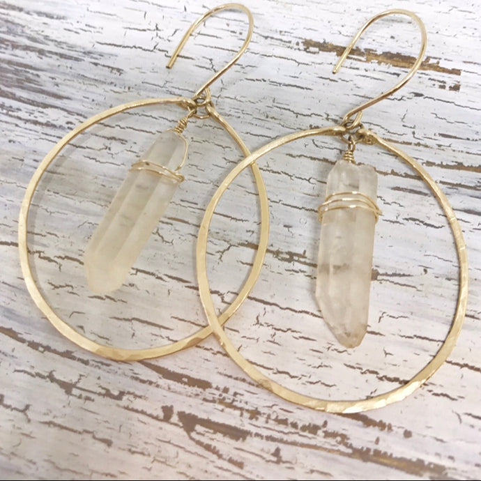 Raw Crystal & Gold Eclipse Earrings