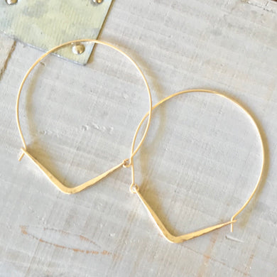 14k Gold Filled Hammered Point Hoop Earrings