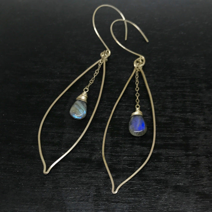 Argentium Silver Banana Leaf & Labradorite Earrings