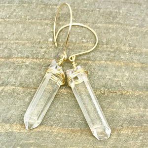 Gold Raw Clear Crystal Drop Earrings