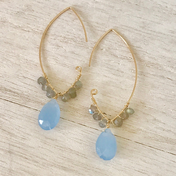 Open Marquise Elongated Drop Earring  14k Gold Filled Marquise Frames Accented with Labradorite and Periwinkle ChalcedonyLarge