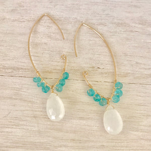 Large Open Marquise Elongated Drop Earring  14k Gold Filled Marquise Frames Accented with Aqua Apatite and Chalcedony