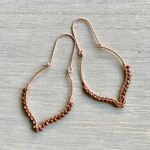 Spade 14k Rose Gold Filled with Copper Coated Hematite Drop Earrings