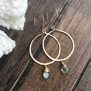 Hammered Front Facing Hoops with Seafoam Fluorite Drops  14k gold filled hand hammered hoops shine with an accent of faceted fluorite.    Fluorite removes and neutralizes negative energy and stress.