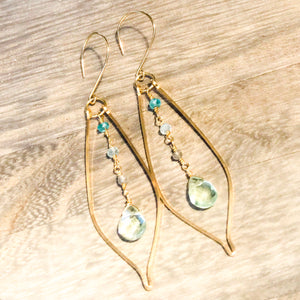 14k Gold Filled, Apatite, Aquamarine & Labradorite Elongated Drop Leaf Earring with Seafoam Fluroite Faceted Briolette Drop
