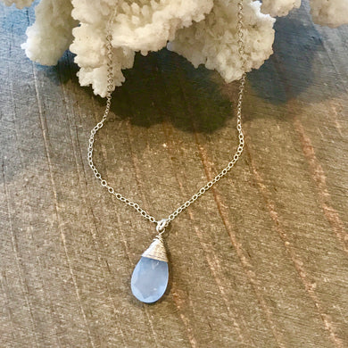 Simple Sterling Silver Periwinkle Chalcedony Briolette Drop Necklace